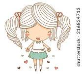 little girl hold heart | Shutterstock .eps vector #216824713