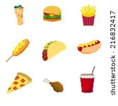 pixel fat food set | Shutterstock .eps vector #216832417
