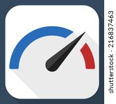 speedometer flat icon with long ... | Shutterstock .eps vector #216837463