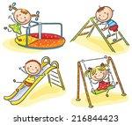 kids on playground | Shutterstock .eps vector #216844423