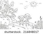 happy kids walking in the... | Shutterstock .eps vector #216848017