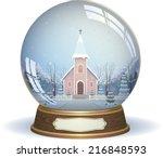 snow globe with a church