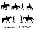 children riding horses... | Shutterstock .eps vector #216870403