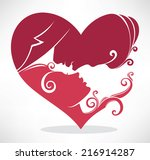 man and woman kissing  romantic ... | Shutterstock .eps vector #216914287