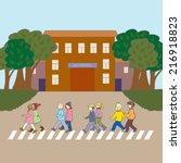 illustration with children... | Shutterstock .eps vector #216918823