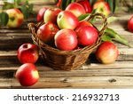 Apples In Basket On Brown...
