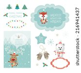 set of christmas vector... | Shutterstock .eps vector #216941437