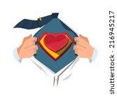 super hero with heart   vector... | Shutterstock .eps vector #216945217