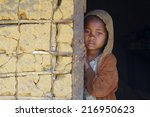 madagascar shy and poor african ... | Shutterstock . vector #216950623