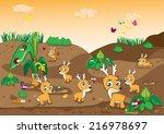 illustration of deer cartoon... | Shutterstock .eps vector #216978697