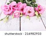 beautiful eustoma flowers on... | Shutterstock . vector #216982933
