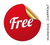 red round free sticker on white ... | Shutterstock .eps vector #216999367