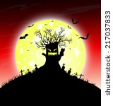 halloween night background with ... | Shutterstock .eps vector #217037833