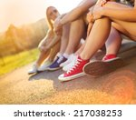legs and sneakers of teenage... | Shutterstock . vector #217038253