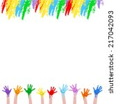 colorful hands  | Shutterstock .eps vector #217042093