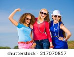three young attractive girls... | Shutterstock . vector #217070857