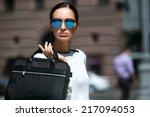 young beautiful brunette woman... | Shutterstock . vector #217094053
