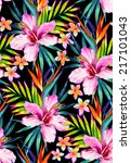 vivid jungle seamless pattern... | Shutterstock . vector #217101043