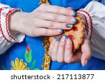 female hands with beautiful...   Shutterstock . vector #217113877