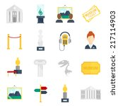 museum art exhibition icons... | Shutterstock .eps vector #217114903