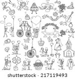 doodle wedding set for... | Shutterstock .eps vector #217119493