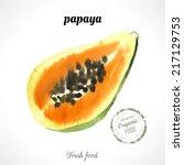 watercolor  papaya. provencal... | Shutterstock .eps vector #217129753