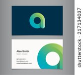 business card with alphabet... | Shutterstock .eps vector #217134037