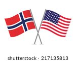 american and norwegian flags.... | Shutterstock .eps vector #217135813