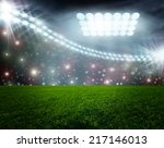 soccer ball on green stadium... | Shutterstock . vector #217146013