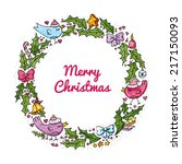 watercolor christmas wreath... | Shutterstock .eps vector #217150093