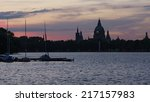 Stock photo silhouette of evening hanover 217157983