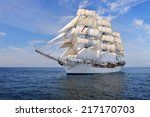tall ship under sail with the... | Shutterstock . vector #217170703