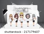 woman posing fashion in... | Shutterstock .eps vector #217179607