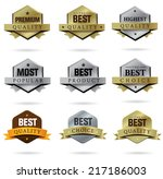 badge gold and silver set icons | Shutterstock .eps vector #217186003