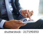 businessman forefinger pointing ... | Shutterstock . vector #217190353