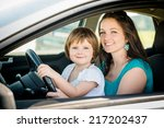 portrait of mother and child... | Shutterstock . vector #217202437