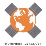 earth with solar panels.vector... | Shutterstock .eps vector #217227787