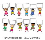 cartoon kids in bright clothes... | Shutterstock . vector #217269457