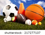 four sport  a lot of balls and... | Shutterstock . vector #217277137