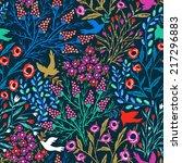 vector floral seamless pattern... | Shutterstock .eps vector #217296883