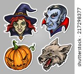 set of stickers for halloween... | Shutterstock .eps vector #217298377