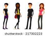 cute cartoon people in colorful ... | Shutterstock . vector #217302223