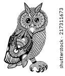 original artwork of owl  ink...   Shutterstock .eps vector #217311673