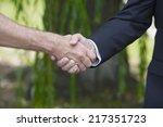 a closeup of a handshake... | Shutterstock . vector #217351723