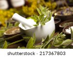 natural remedy and mortar | Shutterstock . vector #217367803