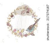 bird in autumn wreath | Shutterstock .eps vector #217374187