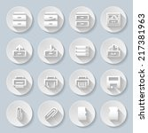 set of flat round buttons on... | Shutterstock .eps vector #217381963