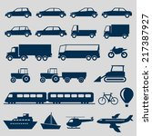 transportation icons set | Shutterstock .eps vector #217387927