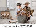 two boys  captain and traveler  ... | Shutterstock . vector #217392547
