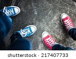 red and blue sneakers shoes... | Shutterstock . vector #217407733